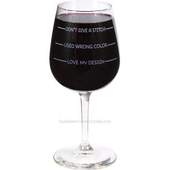 "Wine Glass ""Don't Give A Stitch"" Sewing Gift Idea"