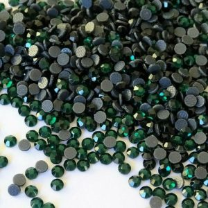iron on crystals emerald green