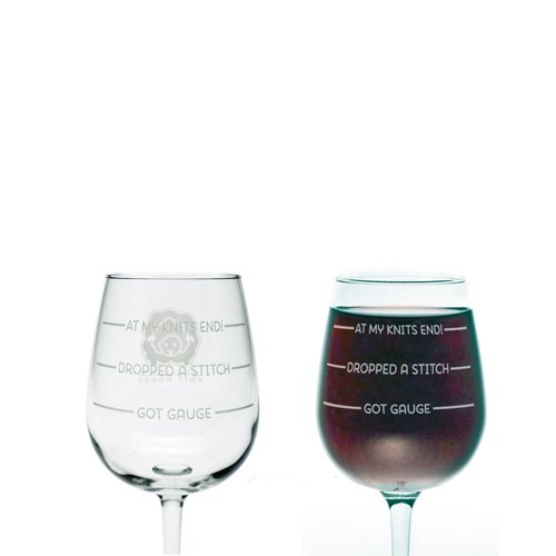 """wine glass knitting gift """"at me knits end"""""""