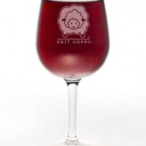 "Wine Glass - ""Knit one Sip two"" Knitting Gift"