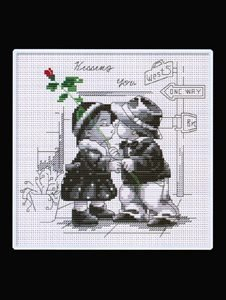 Counted Cross Stitch - Romantic Kisses B&W