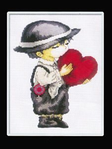 Counted Cross Stitch - Boy Giving Love