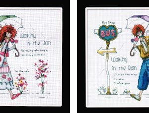Cross Stitch walking in the rain matching set