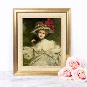 Embroidery vintage lady silk print No 7