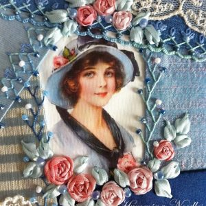 crazy patch printed silk picture from vintage collection cd