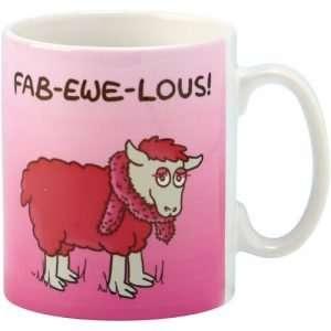 "Coffee Mug Irish Sheep ""Fab-Ewe-Lous"" Ceramic Cup"