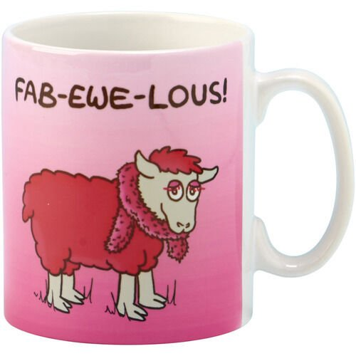 "Coffee Mug Irish Sheep ""Fab-Ewe-Lous"" Ceramic Cup"