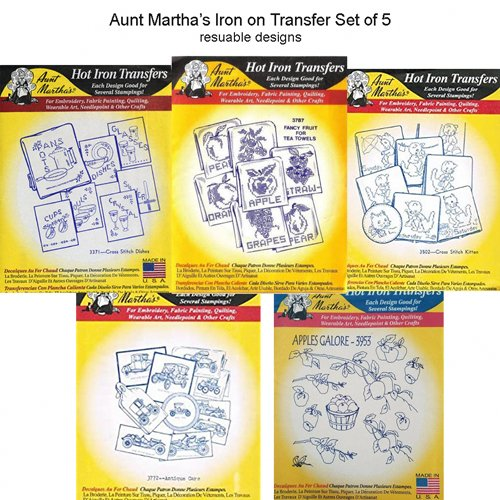 5 x Aunt Martha's Iron on Transfer Embroidery Designs