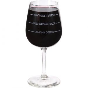"""Wine Glass """"Don't Give A Stitch"""" Sewing Gift"""