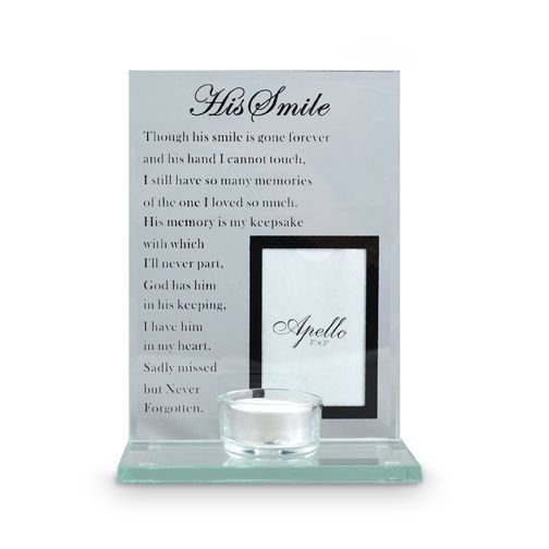 "Glass Memorial Frame + Candle Holder ""His Smile"""