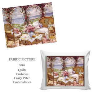 cottage tea party embroidery picture