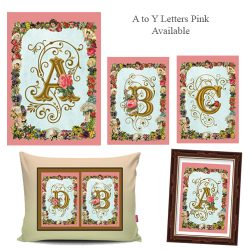 Alphabet Monogram Floral Frame Pink
