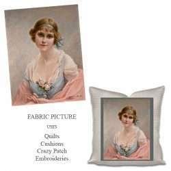 vintage lady no3 fabric panel