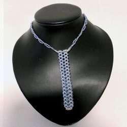 Beaded Necklace Pen Holder Handmade Blue