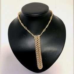 Beaded Necklace Pen Holder Handmade pink + gold