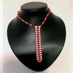 Beaded Necklace Pen Holder Handmade red + white dot
