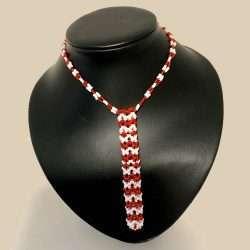 Beaded Necklace Pen Holder Handmade red + gold