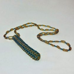 Beaded Necklace Pen Holder Handmade teal + gold