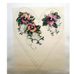 Jenny Haskins silk print pansies heart cream